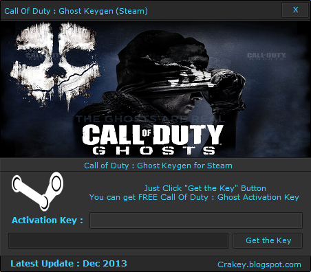 STEAM Call Of Duty : Ghost Key Generator (Keygen) December 2013