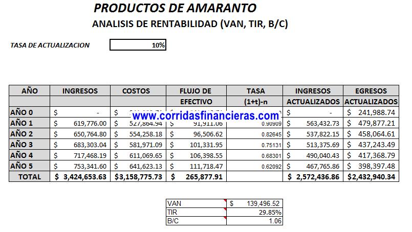 Análisis financiero de proyecto de productos de amaranto