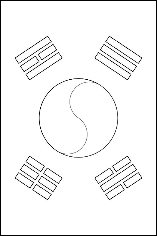colorear bandera de Corea del Sur para imprimir