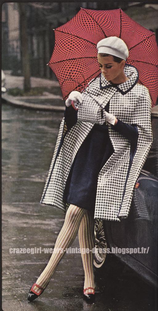Raincoat - 1966 black white houndstooth  check vinyl pvc rain coat 60s 1960 umbrella