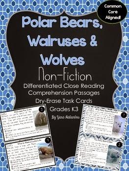 http://www.teacherspayteachers.com/Product/Arctic-Animals-Reading-Comprehension-Passages-Non-fiction-Task-Cards-K-3-1595369
