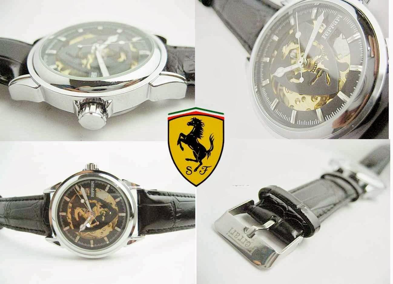 Jam Tangan Ferrari Skeleton - Guns Kulit warna hitam