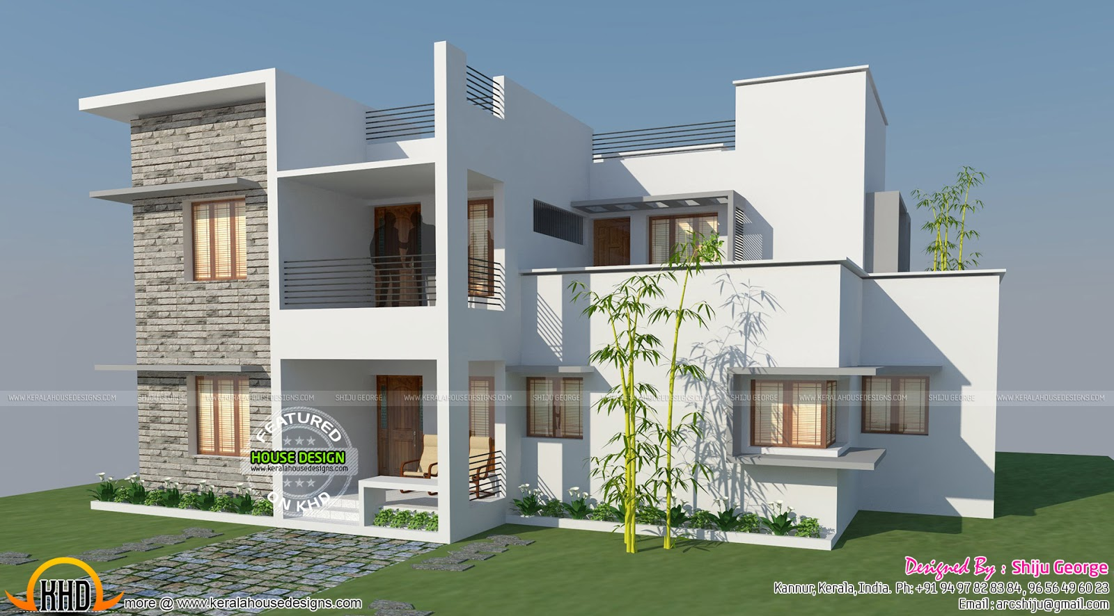 Ft Flat Roof Contemporary Style Kerala Home Design And Floor Plans