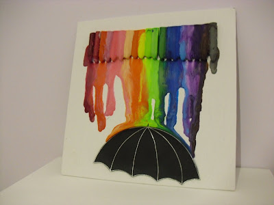 Rainbow Wax Crayons Melted Rain Umbrella