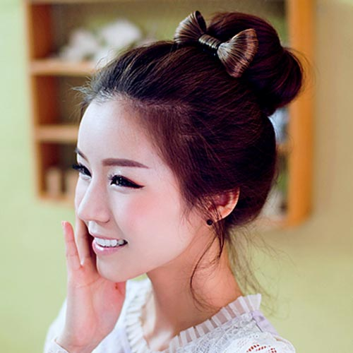 Beautiful Korean Bun with Bow Hairstyles