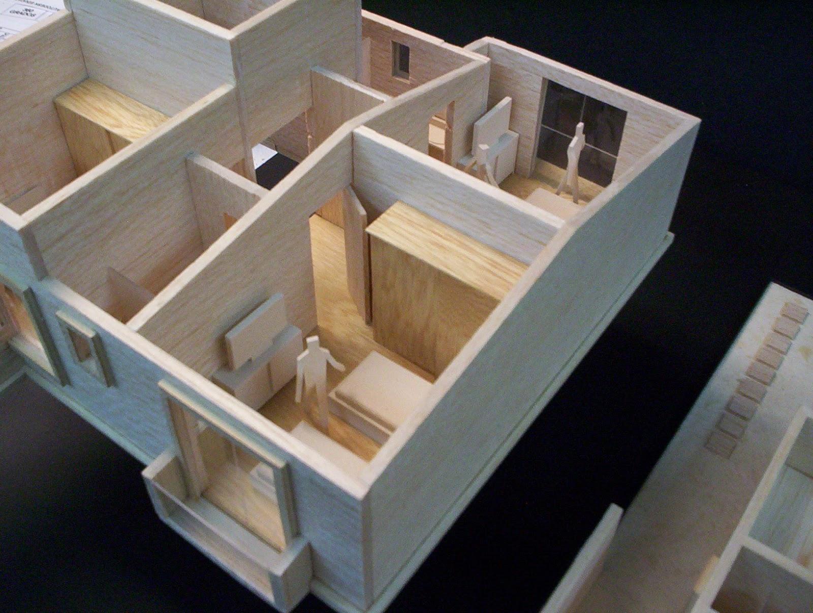 Maqueta de casa habitacion for Muebles a escala 1 50 para planos