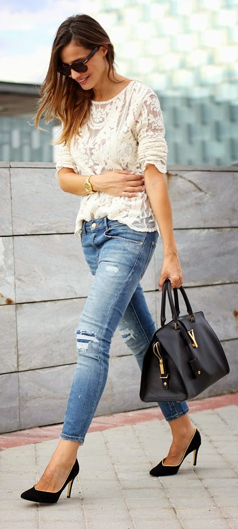 White Brocade Lace top with Ripped Jeans and Black Pumps | Spring Street Outfits
