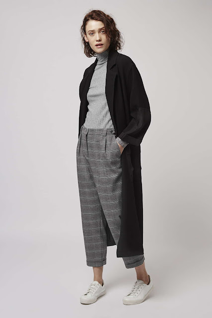 grey check peg trousers, blue grey check trousers,