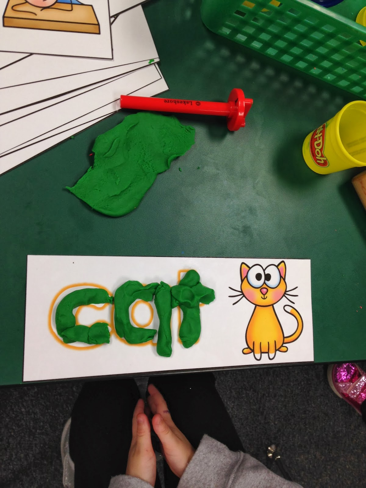 http://www.teacherspayteachers.com/Product/Playdoh-Mats-CVC-Words-785674