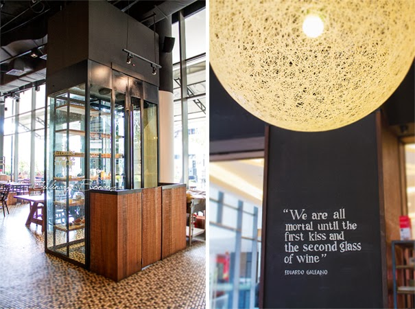 Left: The walk-in glass-walled cheese chamber where the artisan cheeses are stored   Right: CLASSIFIED also sells boutique wines