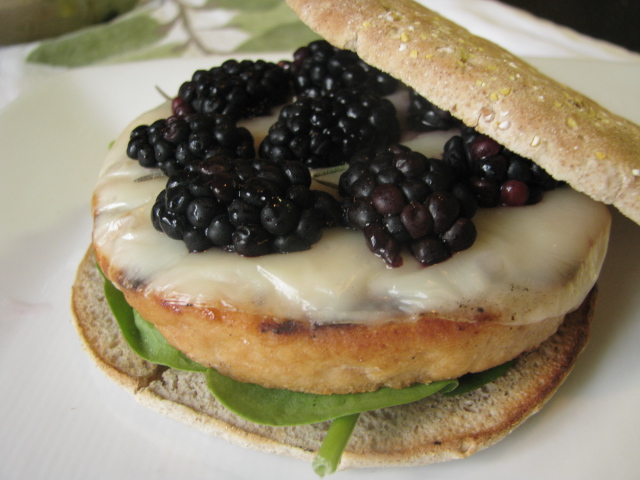 ... Dinner in 10 - Rosemary Salmon Burgers with Blackberries & Provolone