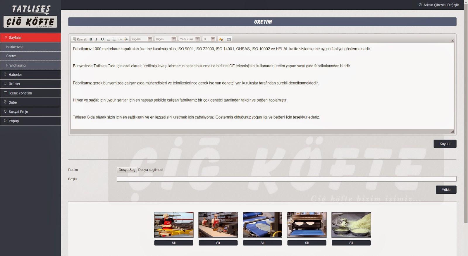 Tatlıses Çiğ Köfte Web Tasarım - Admin Sayfası