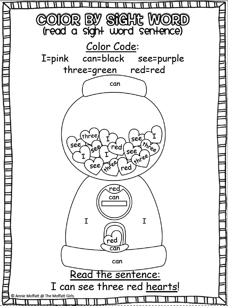 Valentine Color By Sight Words Kindergarten Pictures to Pin on
