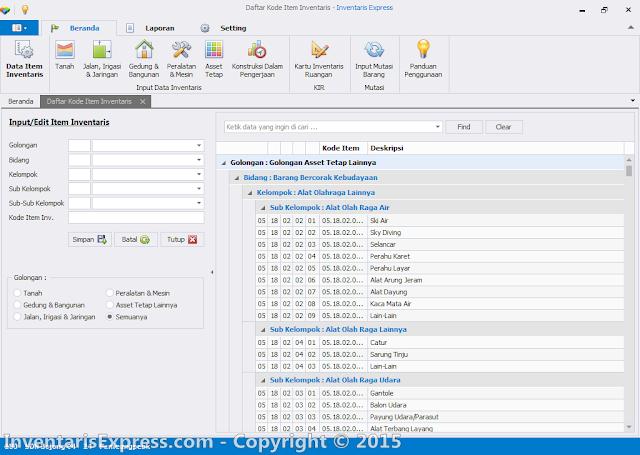 Kode Barang Otomatis - Software Inentaris Express