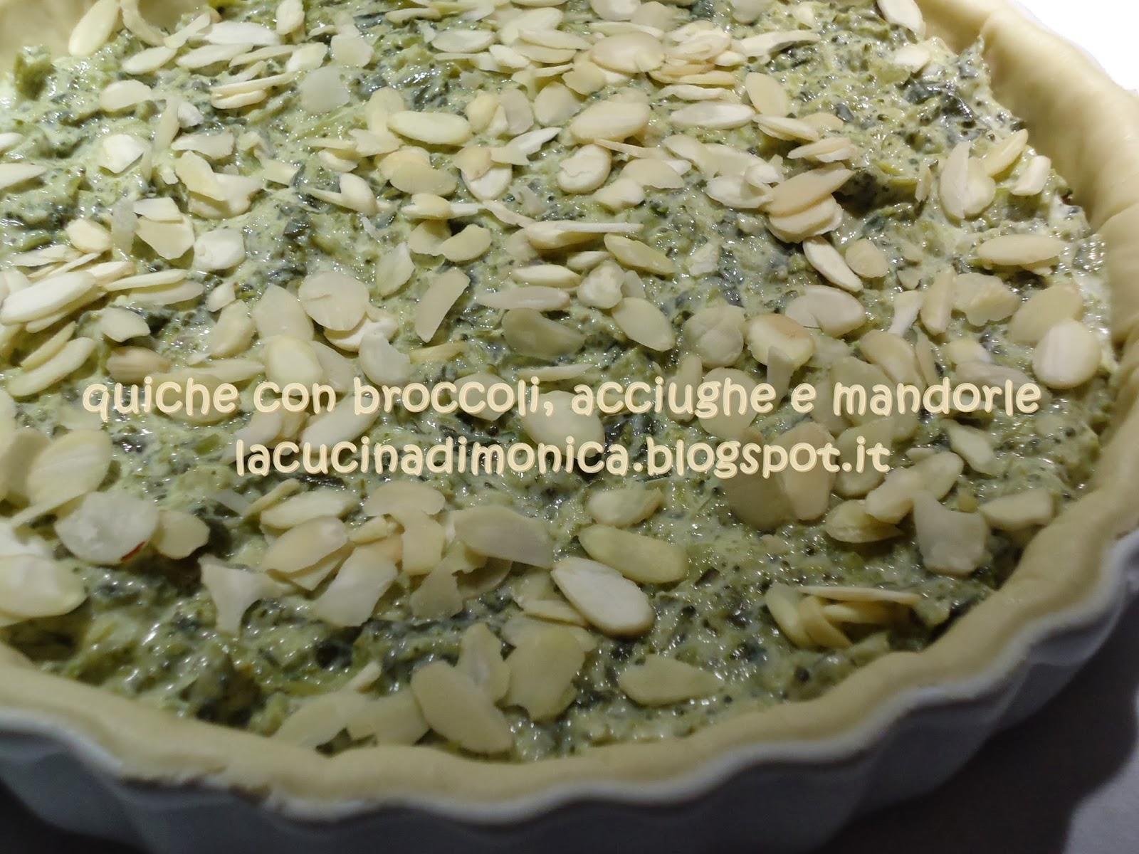 quiche con broccoli,acciughe e mandorle