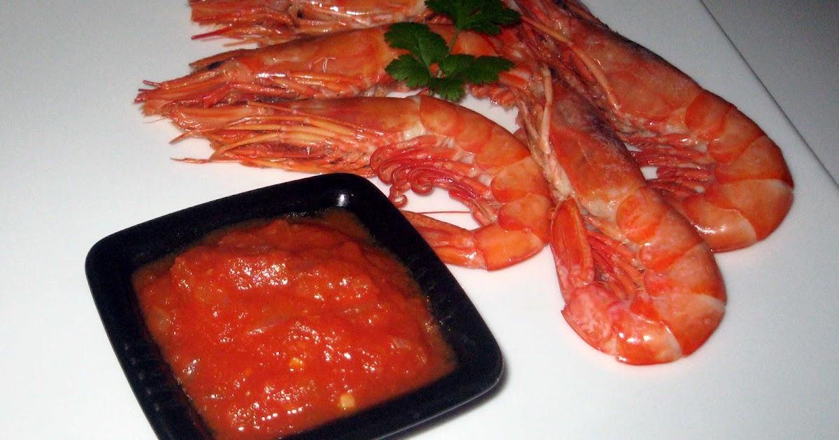 Rico y rico gamb n cocido con salsa de chile picante - Salsa para bogavante cocido ...