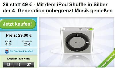 Groupon: iPod Shuffle 2 GB 4.Generation für 29 Euro inklusive Versandkosten