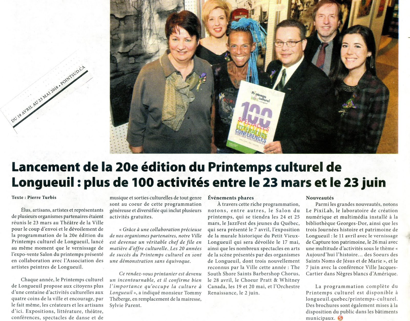 Salon du Printemps 2018: article dans le journal COURRIER RIVE SUD
