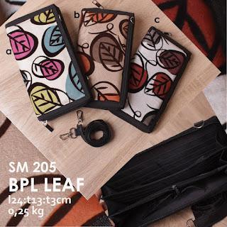 Jual Online Dompet Wanita Bahan Beludru Cantik Motif Daun Harga 50 ribuan - BPL Leaf SM 205