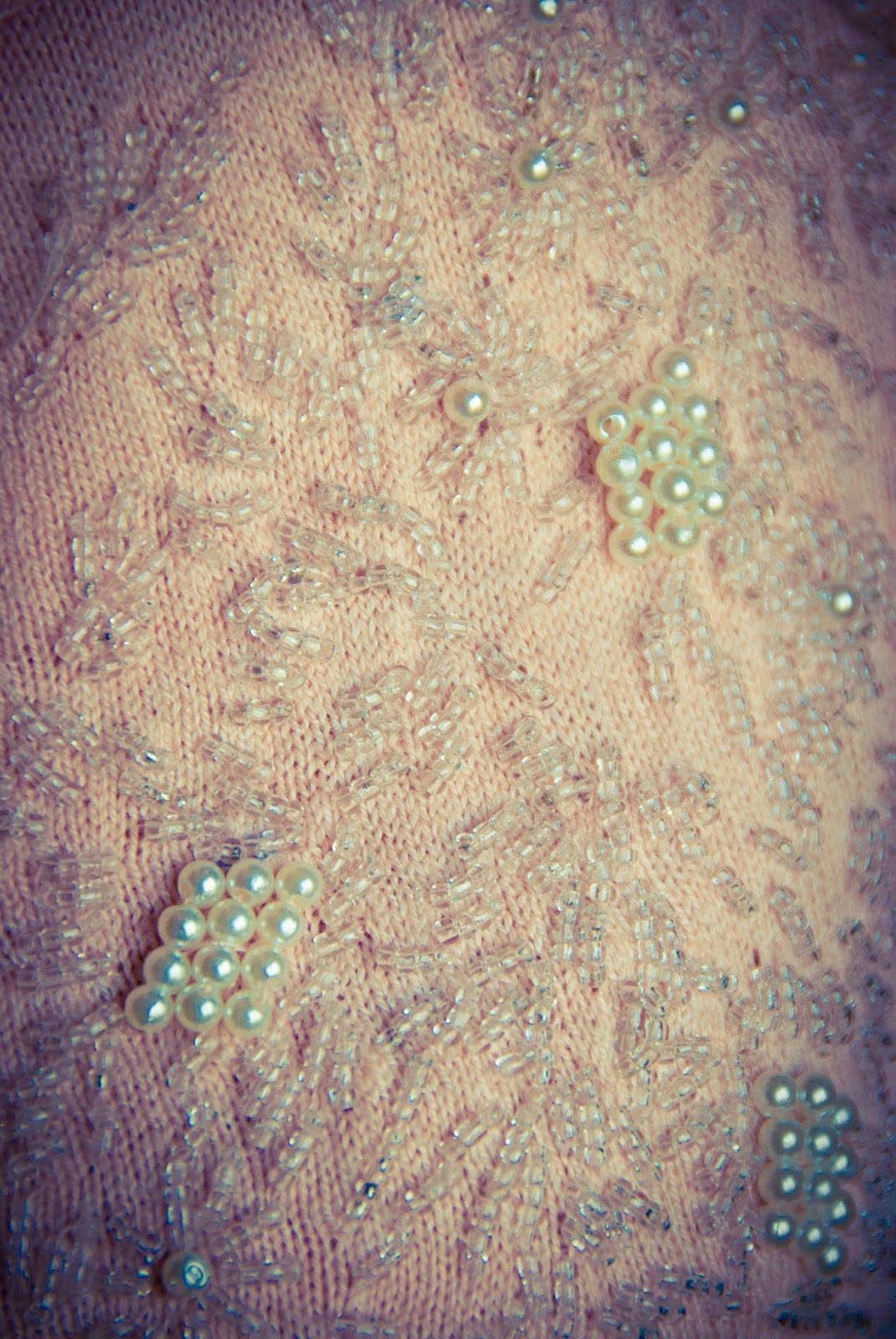 pink beaded pearl cardigan