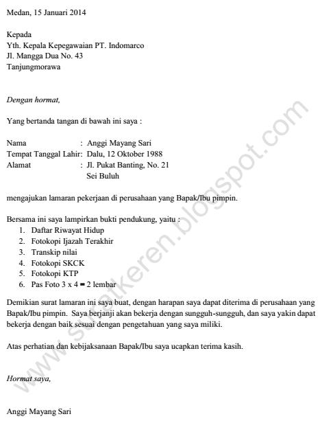 Surat Lamaran Kerja Pt Indomarco