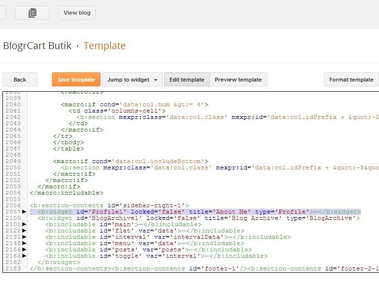 remove profile blogger widget before install e-commerce template