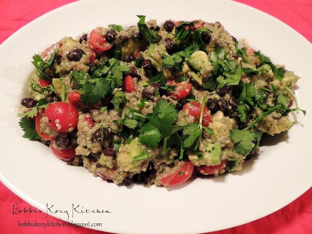 Bobbi's Kozy Kitchen: Creamy Cilantro Lime Salad with Quinoa, Avocado, Tomato, and Black Beans