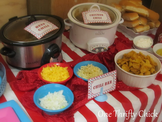 One thrifty chick first birthday carnival party - Carnival party menu ...