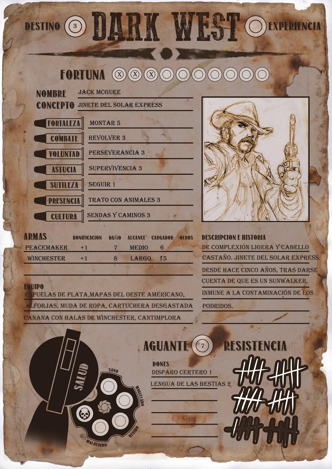 Ayuda de juego] Hoja de personaje de Dark West   El Cuartito de los ...
