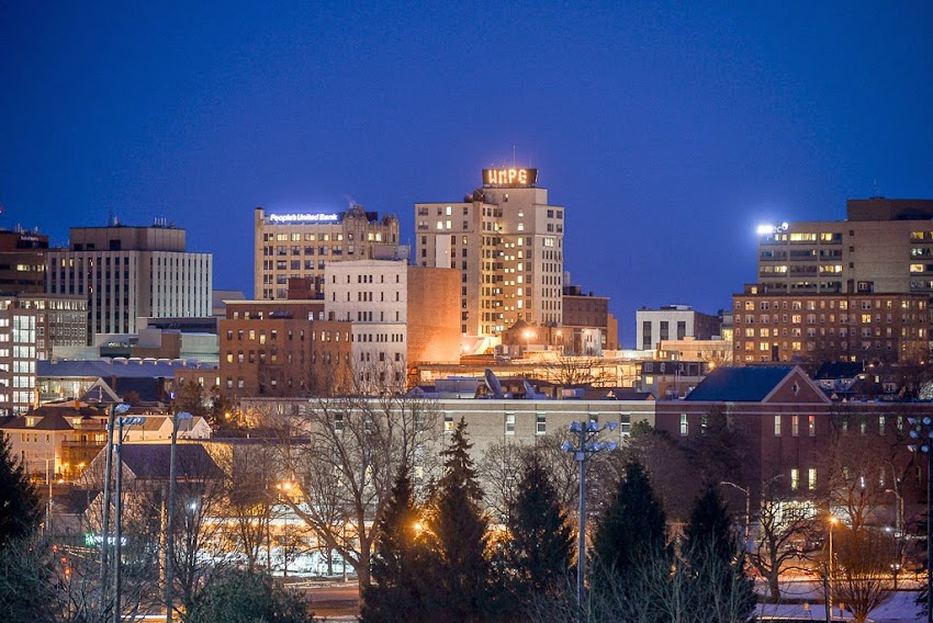 Portland, Maine March 2015 Night Skyline with downtown buildings photo by Corey Templeton
