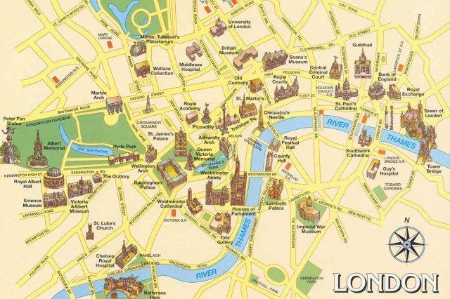 Mapa de Londres con sus monumentos