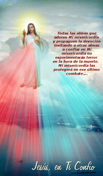 foto de jesus en el cielo con mensaje divina misericordia