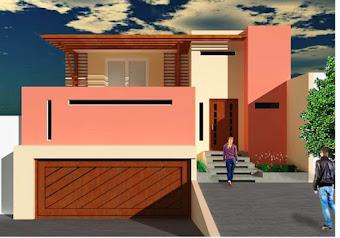 Fantástica fachada con jardín y terraza