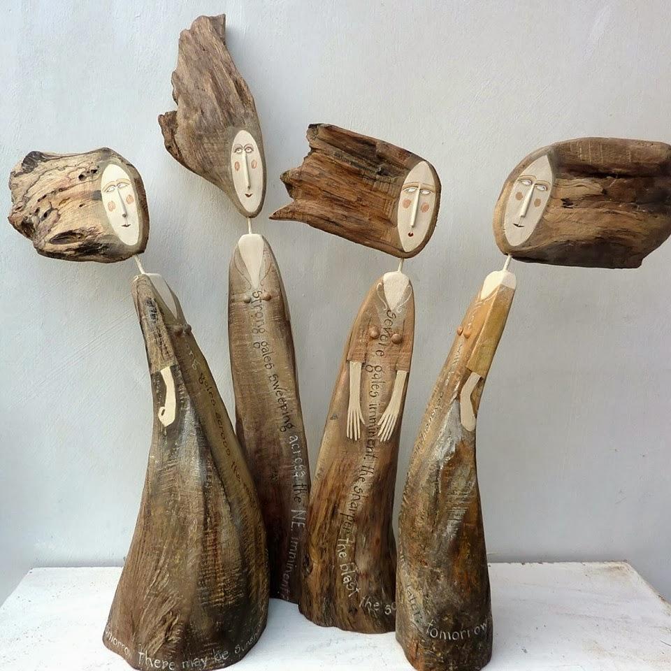 drewniane rzeźby w kształcie ludzie Lynn Muir czyli co można zrobić z drewna
