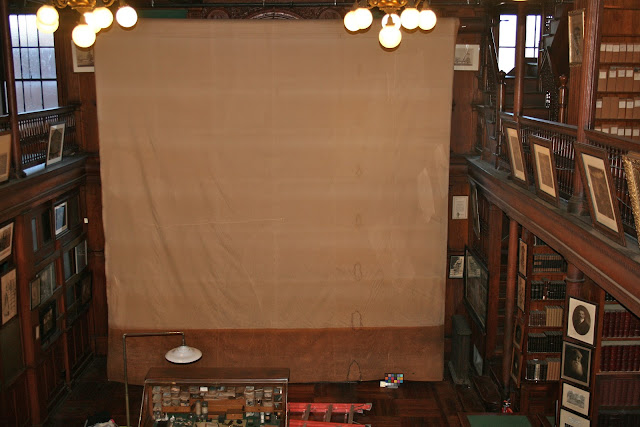 Edison, projection screen, textile conservation, on-site treatment by art conservator