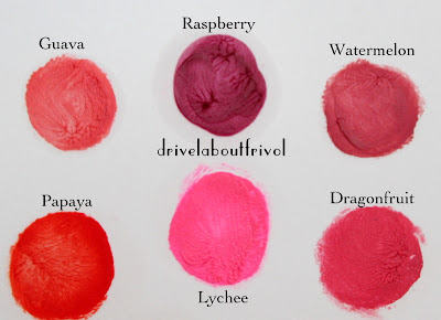 Becca Beach Tint swatches Guava Raspberry Watermelon Papaya Lychee Dragonfruit