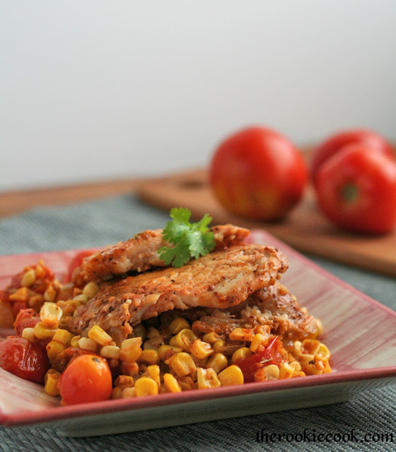 Mexican Corn and Tomato Skillet with Fish ~ The Rookie Cook