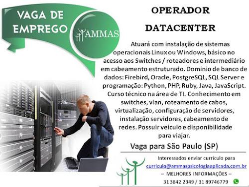 Vaga Operador Datacenter para São Paulo
