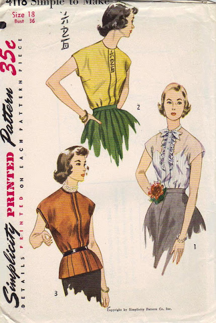 1950s blouse sleeveless sewing pattern Just Peachy, Darling