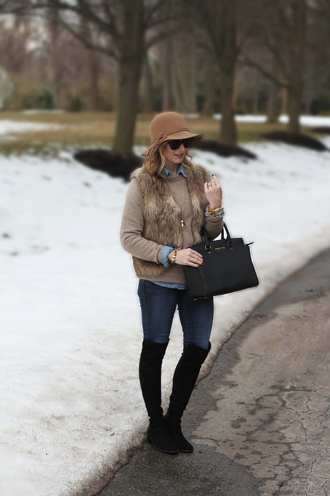 floppy hat, fur vest, Madewell, over the knee boots, transform your wardrobe,