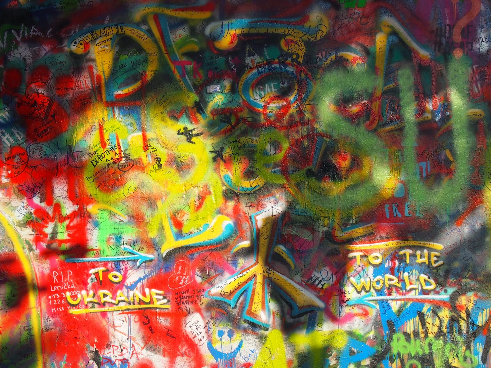Wish of peace at the Lennon Wall