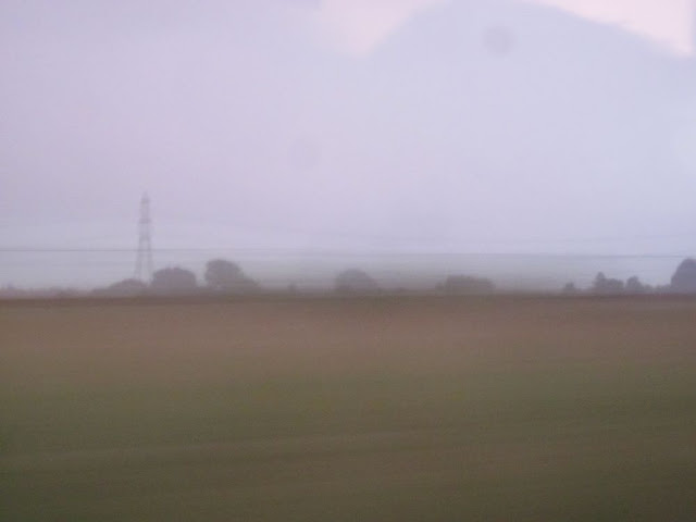 Blurry view from a coach window. Brown, green and grey. Clearer than previous one. Pylon outline.