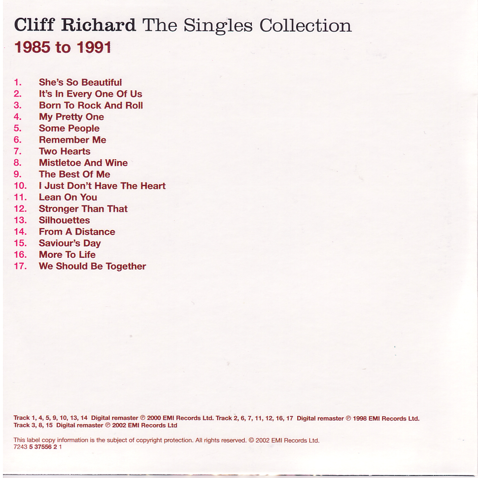 cliff singles 90 track on 4 cds with a card fold out sleeve this cliff & the shadows cd set  has been digitally re-mastered and is very nicely done disc one move it.