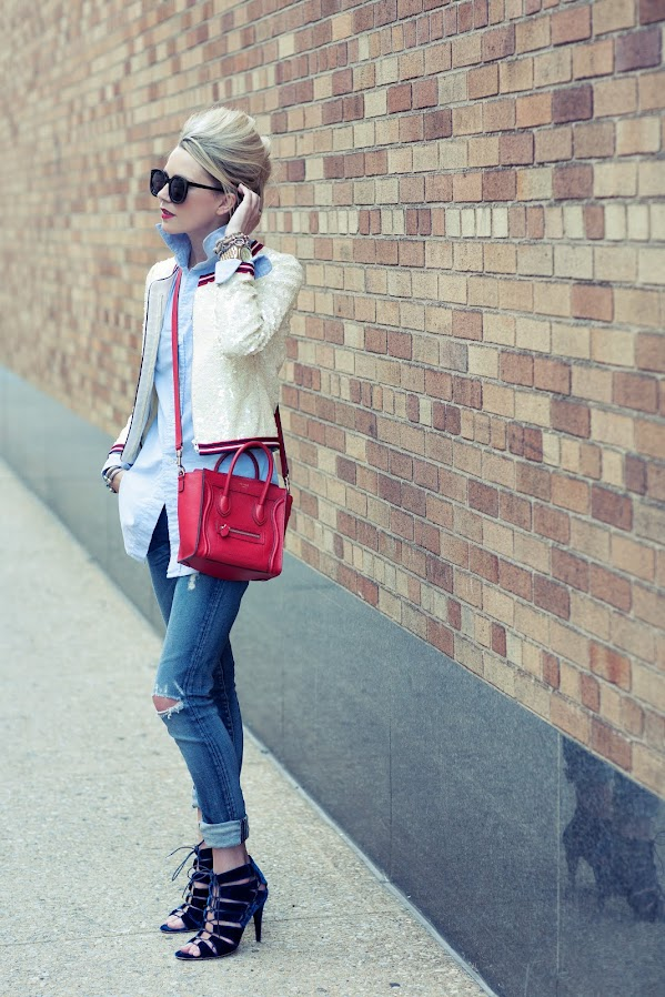 atlantic pacific red white denim celine red oxford sequin jcrew