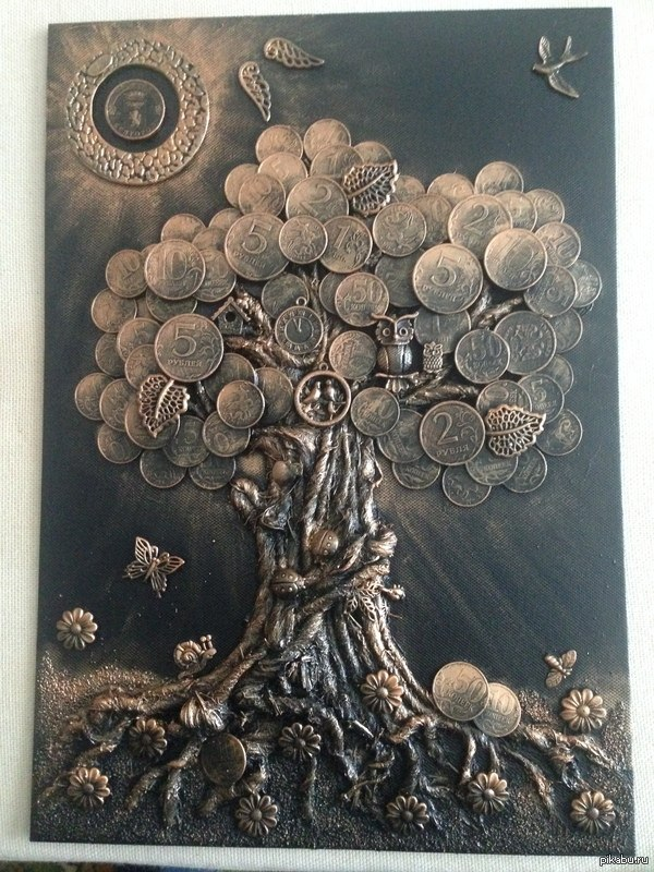 Как сделать панно денежное дерево своими руками из монет фото