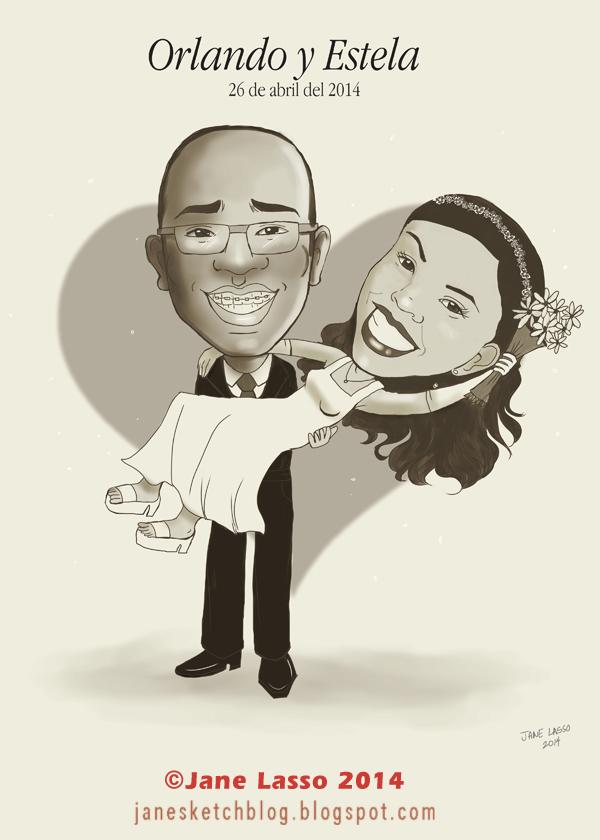 Caricatura para matrimonio , por encargo
