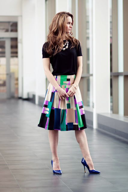fashionable modest colorful knee length skirt