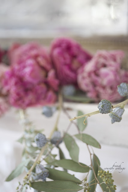 Dried peonies on mantel