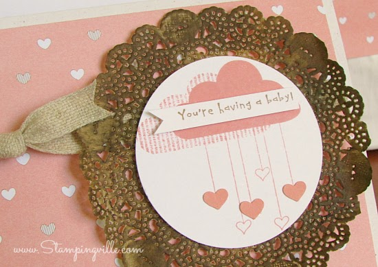 Hello Love baby shower card with paper doily   Stampingville #cardmaking #papercrafts #babyshower #StampinUp