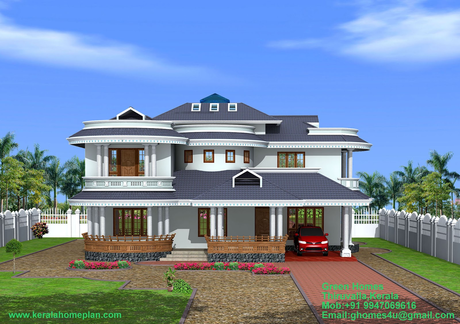 Green Homes Construction Beautiful 4 Bedroom Kerala Home Exterior